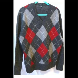 J Crew Sweater Lambs Wool Gray Red Argyle Sweater